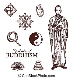 Buddhism religion symbols and vector sketch signs - Buddhism...