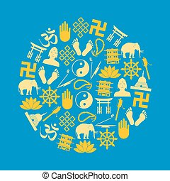 buddhism religions symbols vector set of icons in circle eps10