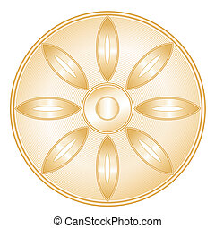 Golden icon of Buddhist faith. Lotus blossom, Wheel of Dharma on a white background.
