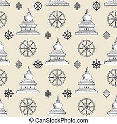 Buddhism symbol, sign pattern, seamless, tile, background
