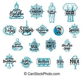 Buddhism symbols, Buddhist religious sketch signs