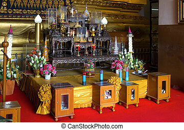 Buddhist altar in the temple, Thailand