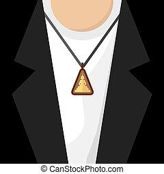Buddhist Amulet Necklace Vector Illustration