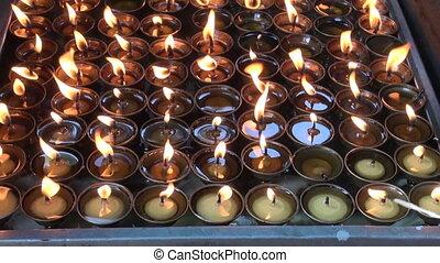 buddhist candles fire in Katmandu