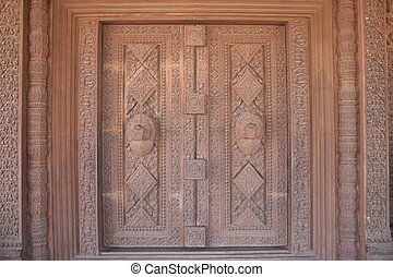 Buddhist Door - Door at a Buddhist temple in Cambodia.