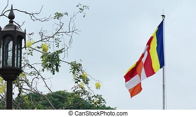 Buddhist Flag Flapping from its Pole in Sri Lanka - Buddhist...