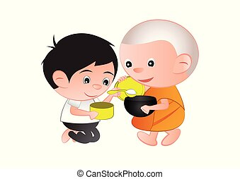 Buddhist give food offering to a monk or ask as a favor...