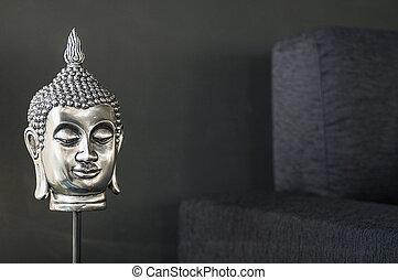 buddhist image interior design detail in modern stylish contemporary home