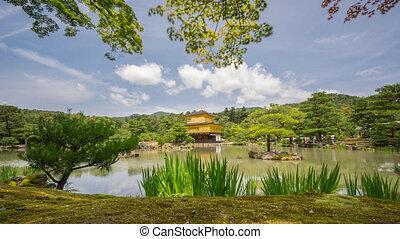 Buddhist Kinkaku-ji (Golden Pavilion) temple time lapse -...