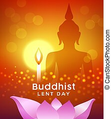 Buddhist lent day, buddha silhouette, with candle light and ...
