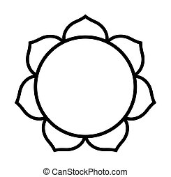 Buddhist Lotus flower in black silhouette isolated on white...