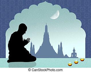 Buddhist man prayer