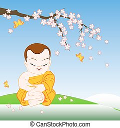 Buddhist monk sitting in peaceful meditation under sakura branch