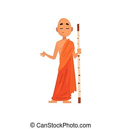 Buddhist monk cartoon character in orange robe standing with wooden stick vector Illustration on a white background