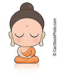 Buddhist Monk cartoon - Golden Buddha with Isolated Buddha
