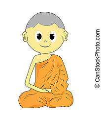 Buddhist Monk cartoon on a white background