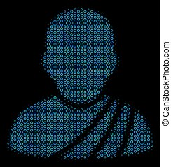 Buddhist Monk Collage Icon of Halftone Circles