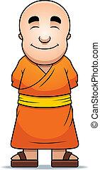 Buddhist Monk - A happy cartoon Buddhist monk standing and...