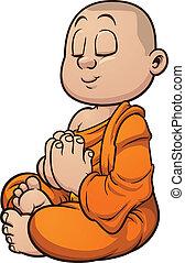 Buddhist monk - Cartoon buddhist monk meditating. Vector...
