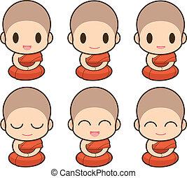 Buddhist Monk illustration, Expression
