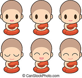 Buddhist Monk illustration, Expression
