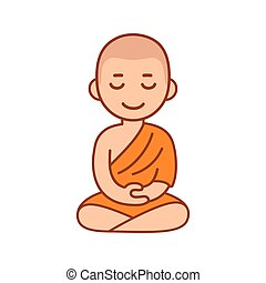 Buddhist monk meditating - Buddhist monk in orange robes...