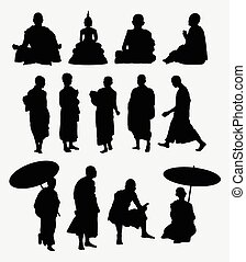 Buddhist monk silhouettes. Good use for symbol, web icons, logo, or any design you want. Easy to use.
