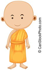 Buddhist monk standing alone illustration