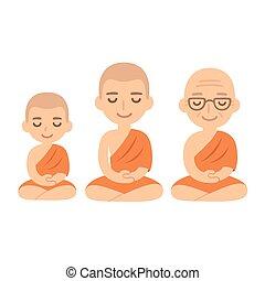 Buddhist monks sitting in meditation. Child novice, young adult and senior. Cute cartoon tibetan monks vector illustration set.