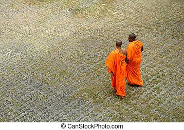 Buddhist Monks - Row of Buddhist monks