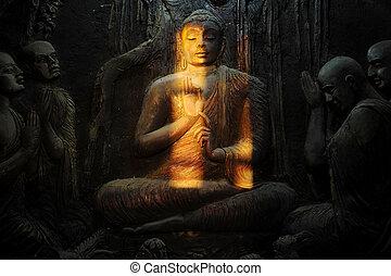 Buddhist mural in old temple. Kandy, Sri Lanka