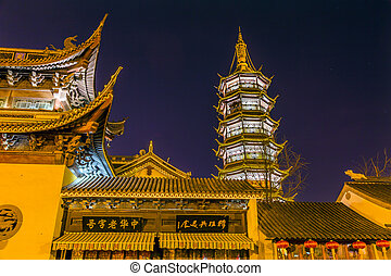 Buddhist Nanchang Temple Pagoda Stars Wuxi Jiangsu China Night