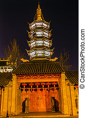 Buddhist Nanchang Temple Wooden Door Pagoda Wuxi Jiangsu China Night