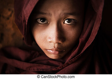Buddhist novice monk face