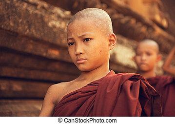 Buddhist novice monks walking morning alms
