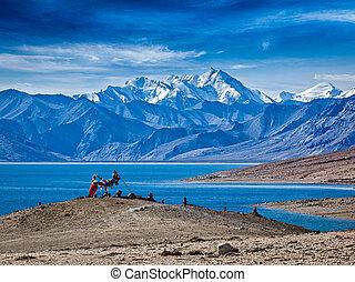 Buddhist prayer flags at Himalayan lake Tso Moriri