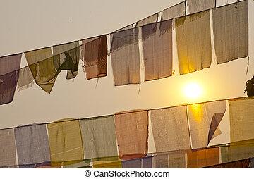 Buddhist praying flags at the sunset  in Lumbini, Nepal