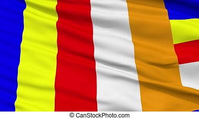 Buddhist Religious Close Up Waving Flag - Buddhist Religious...