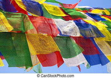 Buddhist Religious Flag at Boudhanath Temple, Nepal - Image...