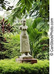 buddhist statue in phnom penh cambodia garden
