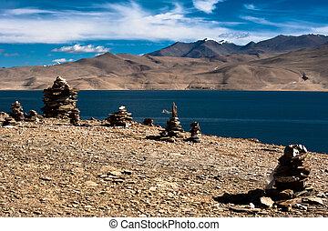 Buddhist stone pyramid at Tso Moriri Lake. India
