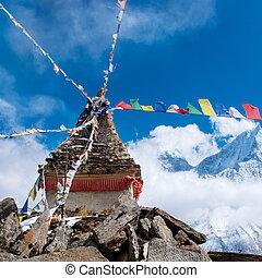 Buddhist stupa in mountains, Nepal