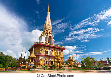 Buddhist stupa in Wat Chalong temple, Thailand