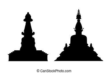 buddhist stupa silhouettes set 1 - black silhouettes of two...
