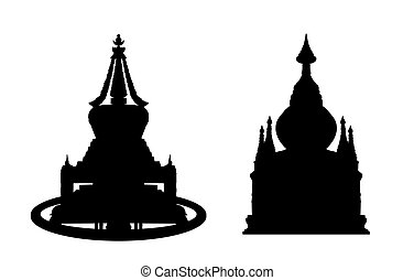 buddhist stupa silhouettes set 2 - black silhouettes of two...