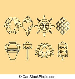 Set of dharma wheel the dharmacakra symbol is represented buddhist symbolism the 8 auspicious symbols of buddhism right coiled white conch mightylinksfo
