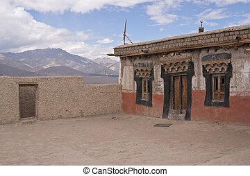 buddhist, taktopp, tempel
