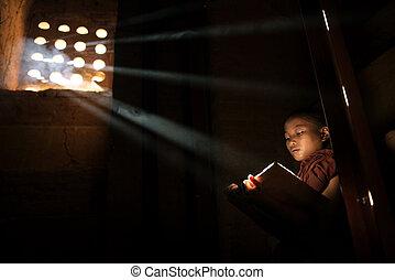 Buddhist teaching, Myanmar.