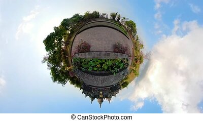 Buddhist temple on the island of Bali - little planet view...