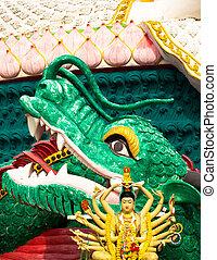 Buddhist temple sculpture of dragon